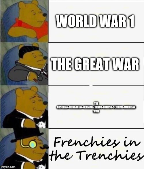 Tuxedo Winnie the Pooh 4 panel | WORLD WAR 1 THE GREAT WAR THE AUSTRIAN-HUNGARIAN-GERMAN-FRENCH-BRITISH-SERBIAN-AMERICAN WAR Frenchies in the Trenchies | image tagged in tuxedo winnie the pooh 4 panel | made w/ Imgflip meme maker