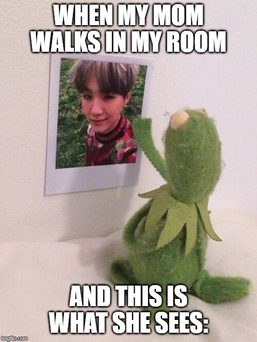 Kermit and yoongi | WHEN MY MOM WALKS IN MY ROOM AND THIS IS WHAT SHE SEES: | image tagged in kermit,bts,funny,seances,suga bts | made w/ Imgflip meme maker