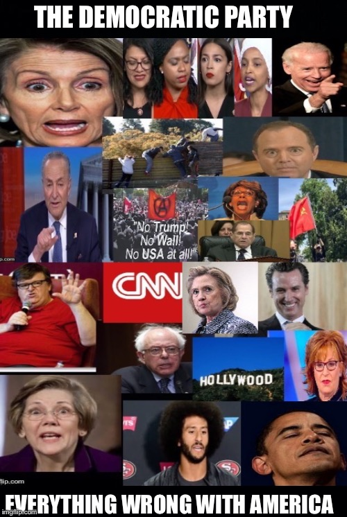 Yeah, I said it! |  THE DEMOCRATIC PARTY; EVERYTHING WRONG WITH AMERICA | image tagged in democratic party,liberals,trump impeachment,democratic socialism,democrats,liberal logic | made w/ Imgflip meme maker