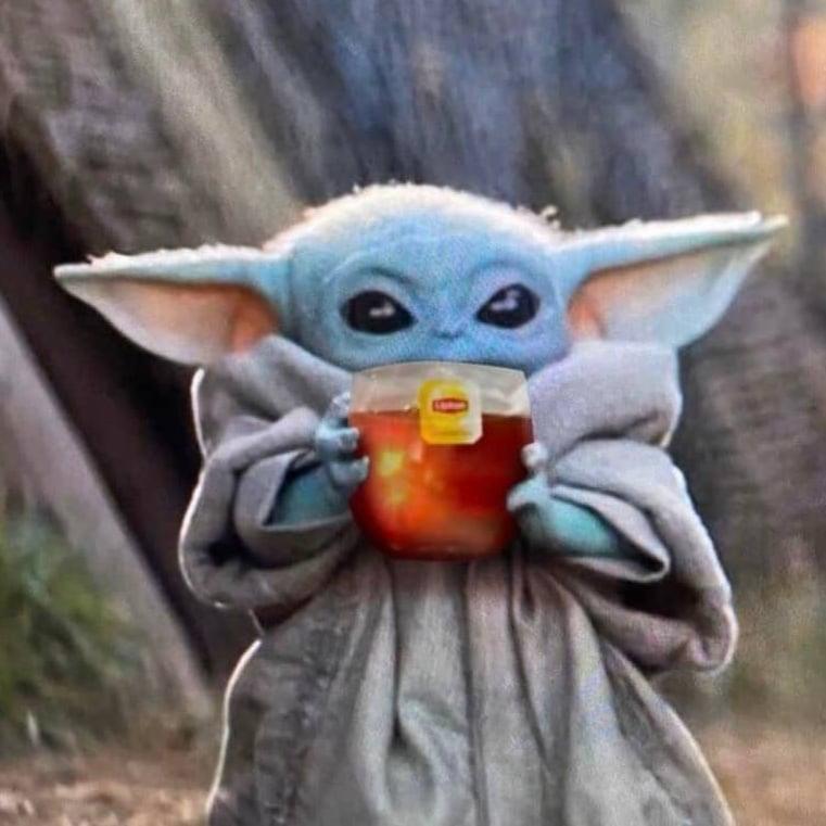 Baby Yoda Sipping Tea Blank Template Imgflip
