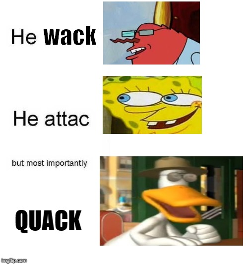 He protec he attac but most importantly | wack QUACK | image tagged in he protec he attac but most importantly | made w/ Imgflip meme maker