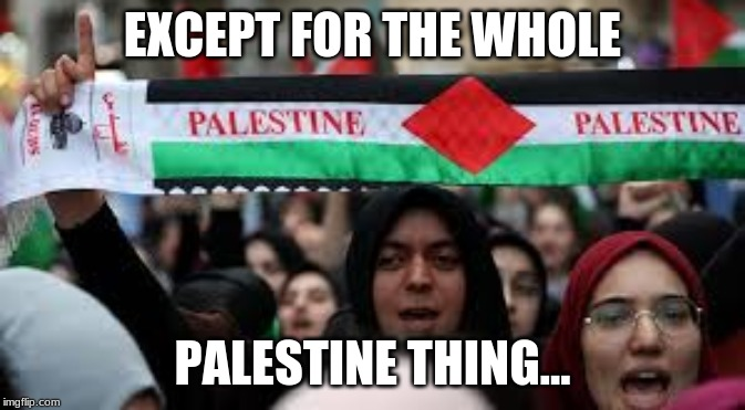 PALESTINA | EXCEPT FOR THE WHOLE PALESTINE THING... | image tagged in palestina | made w/ Imgflip meme maker