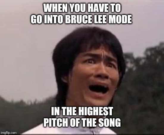 bruce lee | WHEN YOU HAVE TO GO INTO BRUCE LEE MODE IN THE HIGHEST PITCH OF THE SONG | image tagged in bruce lee | made w/ Imgflip meme maker