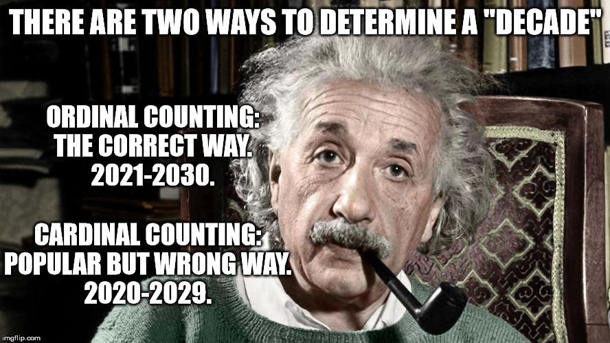 "The Right and Wrong Way to Determine a Decade |  THERE ARE TWO WAYS TO DETERMINE A ""DECADE""; ORDINAL COUNTING: THE CORRECT WAY. 2021-2030. CARDINAL COUNTING: POPULAR BUT WRONG WAY. 2020-2029. 