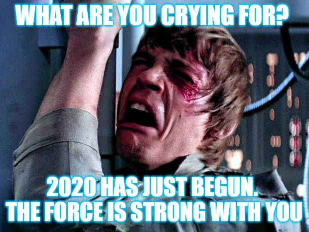 Luke Skywalker Crying |  WHAT ARE YOU CRYING FOR? 2020 HAS JUST BEGUN.  THE FORCE IS STRONG WITH YOU | image tagged in luke skywalker crying | made w/ Imgflip meme maker