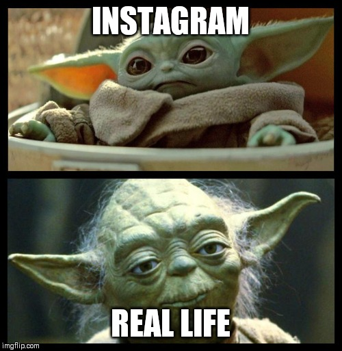 baby yoda |  INSTAGRAM; REAL LIFE | image tagged in baby yoda | made w/ Imgflip meme maker