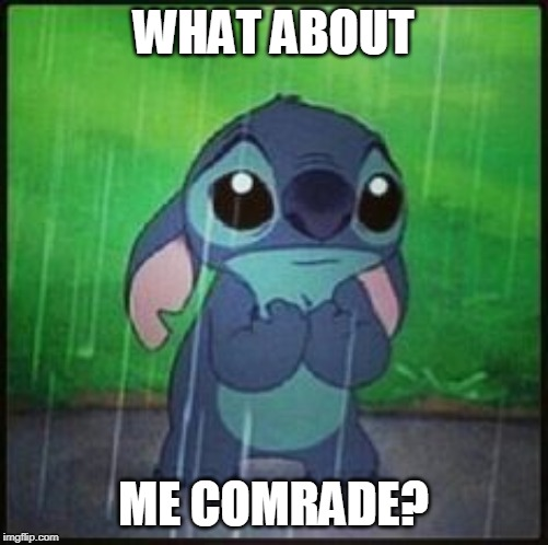 Stitch in the rain | WHAT ABOUT ME COMRADE? | image tagged in stitch in the rain | made w/ Imgflip meme maker