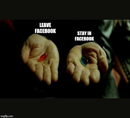 Matrix Pills |  LEAVE FACEBOOK; STAY IN FACEBOOK | image tagged in matrix pills | made w/ Imgflip meme maker