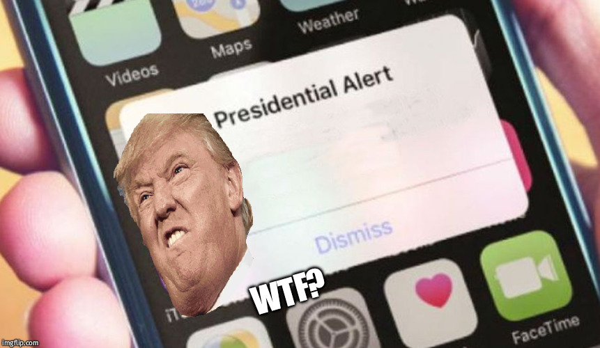 Presidential Alert | WTF? | image tagged in memes,presidential alert | made w/ Imgflip meme maker