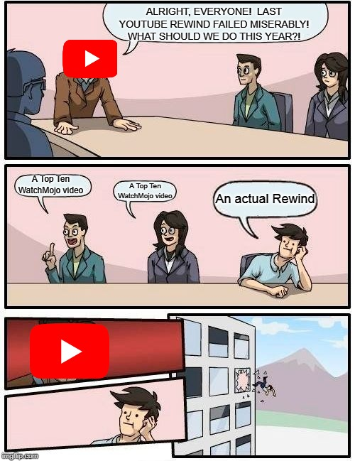 Boardroom Meeting Suggestion Meme | ALRIGHT, EVERYONE!  LAST YOUTUBE REWIND FAILED MISERABLY! WHAT SHOULD WE DO THIS YEAR?! A Top Ten WatchMojo video A Top Ten WatchMojo video  | image tagged in memes,boardroom meeting suggestion | made w/ Imgflip meme maker