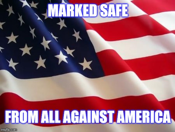 American flag | MARKED SAFE FROM ALL AGAINST AMERICA | image tagged in american flag | made w/ Imgflip meme maker