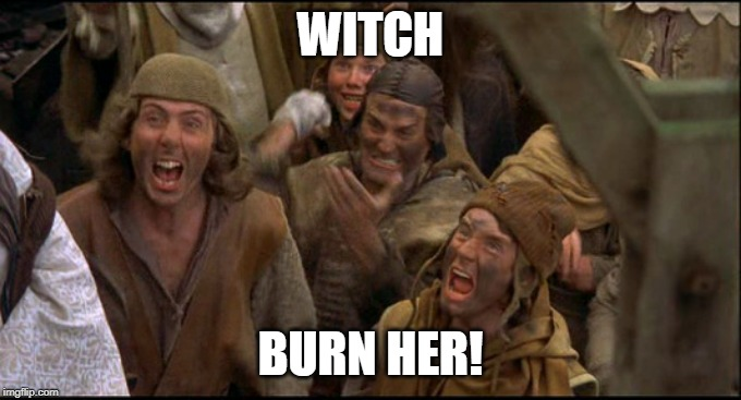 Monty Python witch | WITCH BURN HER! | image tagged in monty python witch | made w/ Imgflip meme maker