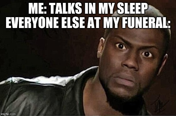 Kevin Hart | ME: TALKS IN MY SLEEP EVERYONE ELSE AT MY FUNERAL: | image tagged in memes,kevin hart | made w/ Imgflip meme maker