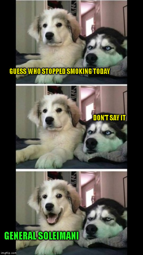 Bad joke dogs | GUESS WHO STOPPED SMOKING TODAY                                                                                                              | image tagged in bad joke dogs | made w/ Imgflip meme maker