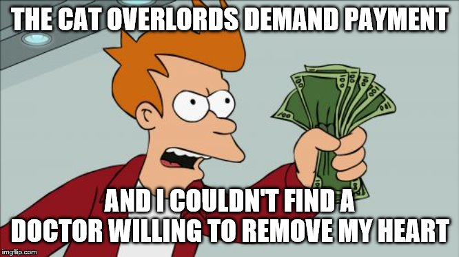 Shut Up And Take My Money Fry Meme |  THE CAT OVERLORDS DEMAND PAYMENT; AND I COULDN'T FIND A DOCTOR WILLING TO REMOVE MY HEART | image tagged in memes,shut up and take my money fry | made w/ Imgflip meme maker