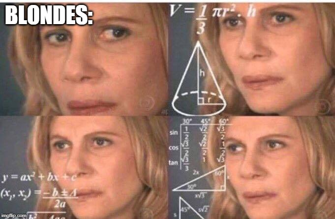 Math lady/Confused lady | BLONDES: | image tagged in math lady/confused lady | made w/ Imgflip meme maker