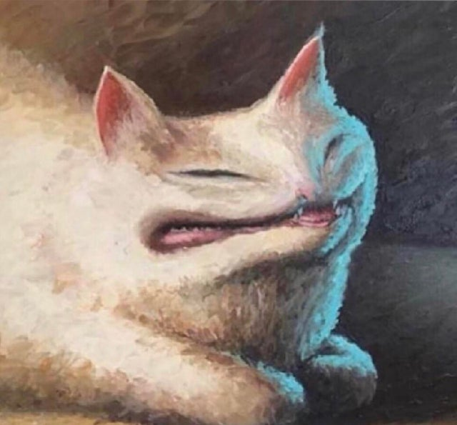 Cursed Cat Painting Blank Template
