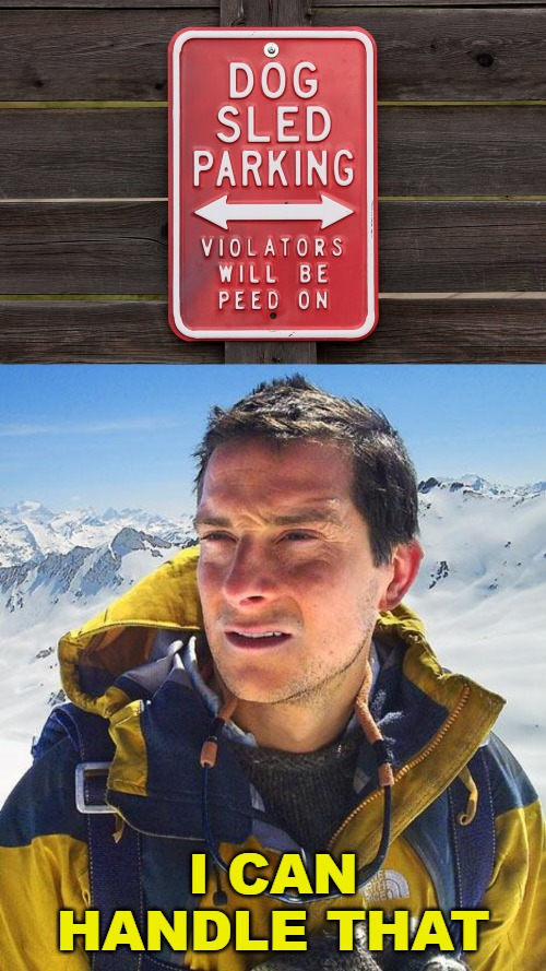 I CAN HANDLE THAT | image tagged in memes,bear grylls,funny signs,weird signs | made w/ Imgflip meme maker