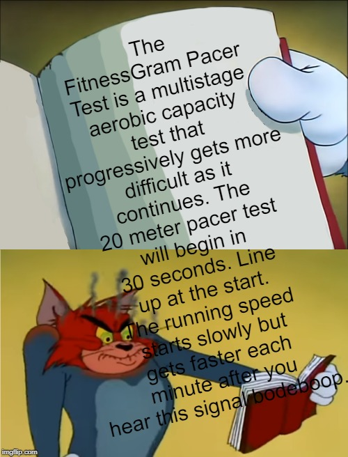 Angry Tom | The FitnessGram Pacer Test is a multistage aerobic capacity test that progressively gets more difficult as it continues. The 20 meter pacer  | image tagged in angry tom reading book,custom template,tom and jerry | made w/ Imgflip meme maker