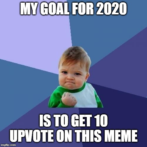 Success Kid | MY GOAL FOR 2020 IS TO GET 10 UPVOTE ON THIS MEME | image tagged in memes,success kid | made w/ Imgflip meme maker