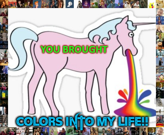 UniPuke II |  YOU BROUGHT; Colors Into My Life!! | image tagged in colors,gay unicorn | made w/ Imgflip meme maker
