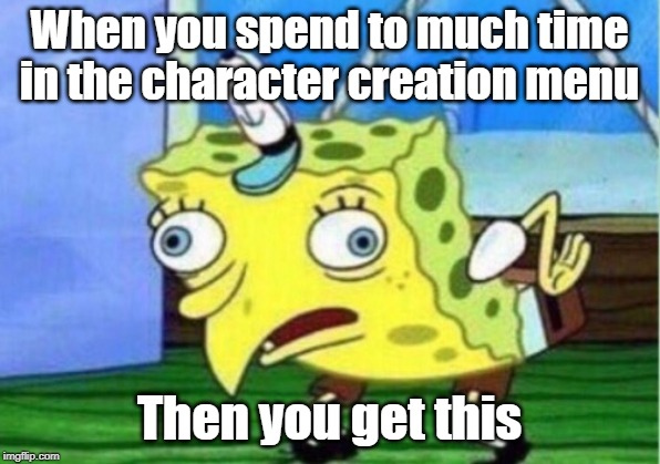 Mocking Spongebob Meme | When you spend to much time in the character creation menu Then you get this | image tagged in memes,mocking spongebob | made w/ Imgflip meme maker