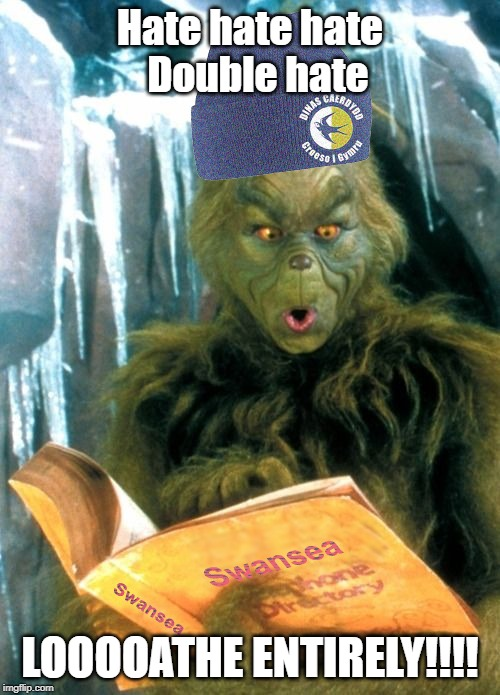 The Grinch Hates Swansea City | Hate hate hate   Double hate LOOOOATHE ENTIRELY!!!! | image tagged in the grinch hates swansea,grinch,hate,swansea,jacks,cardiff | made w/ Imgflip meme maker