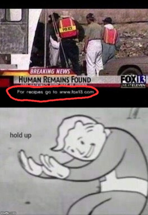 what the hell happened here | image tagged in fallout hold up,breaking news,funny,memes,fox news,cooking | made w/ Imgflip meme maker