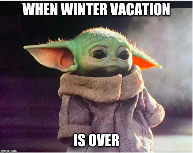why! |  WHEN WINTER VACATION; IS OVER | image tagged in sad baby yoda,baby yoda,winter,snow,christmas,school | made w/ Imgflip meme maker