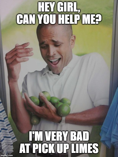 You're my International Date Lime. | HEY GIRL, CAN YOU HELP ME? I'M VERY BAD AT PICK UP LIMES | image tagged in memes,why can't i hold all these limes,funny memes,pick up lines,pun,girlfriend | made w/ Imgflip meme maker