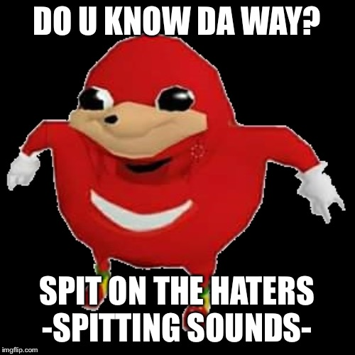 Ugandan Knuckles | DO U KNOW DA WAY? SPIT ON THE HATERS -SPITTING SOUNDS- | image tagged in ugandan knuckles | made w/ Imgflip meme maker