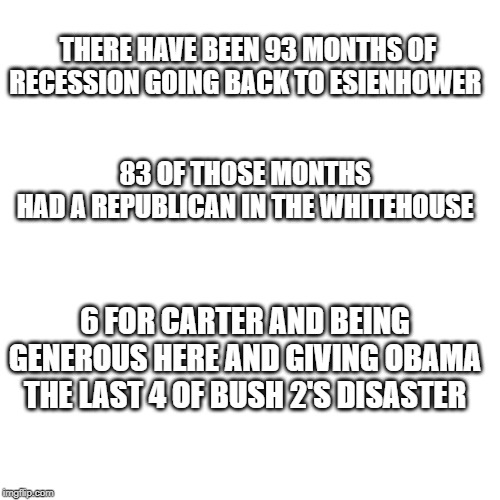 Blank Transparent Square | THERE HAVE BEEN 93 MONTHS OF RECESSION GOING BACK TO ESIENHOWER 83 OF THOSE MONTHS HAD A REPUBLICAN IN THE WHITEHOUSE 6 FOR CARTER AND BEING | image tagged in memes,blank transparent square | made w/ Imgflip meme maker
