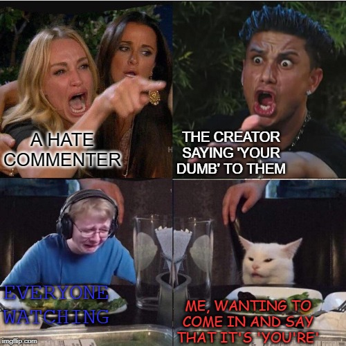 It is 'You're' and not 'Your'. |  THE CREATOR SAYING 'YOUR DUMB' TO THEM; A HATE COMMENTER; ME, WANTING TO COME IN AND SAY THAT IT'S 'YOU'RE'; EVERYONE WATCHING | image tagged in four panel taylor armstrong pauly d callmecarson cat,grammar nazi cat,grammar | made w/ Imgflip meme maker