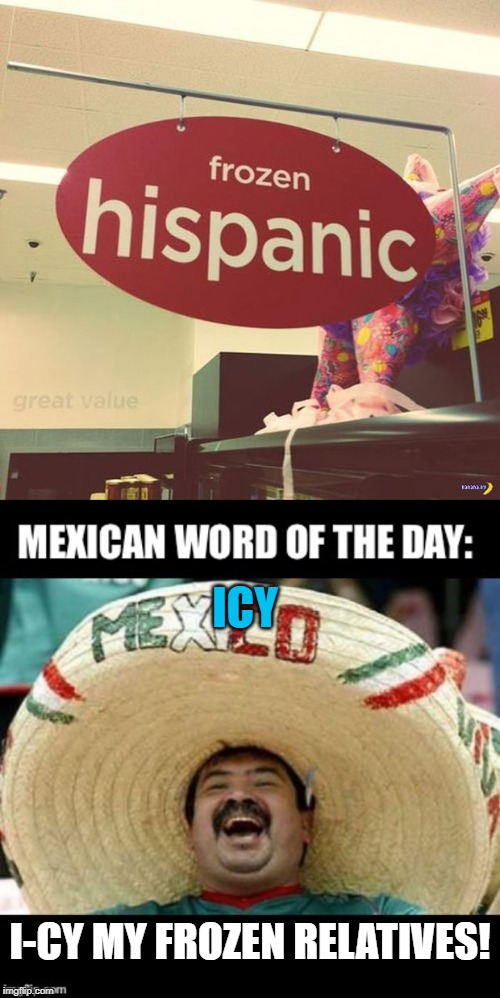 I see... Icy... Get it? | I-CY MY FROZEN RELATIVES! ICY | image tagged in mexican word of the day large,get it,hispanic,frozen | made w/ Imgflip meme maker