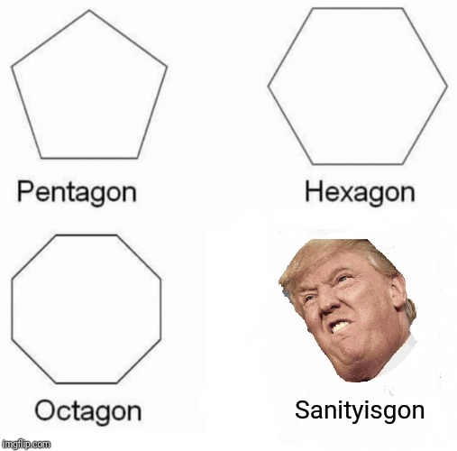 Pentagon Hexagon Octagon |  Sanityisgon | image tagged in memes,pentagon hexagon octagon | made w/ Imgflip meme maker