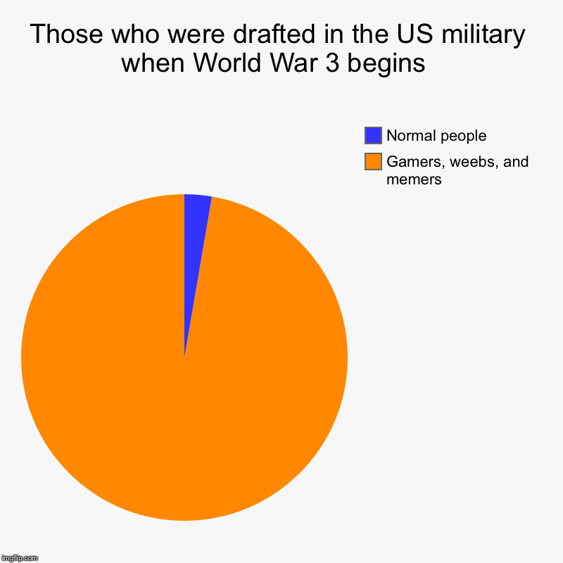 Those who were drafted in the US military when World War 3 begins  | Gamers, weebs, and memers , Normal people | image tagged in charts,pie charts | made w/ Imgflip chart maker