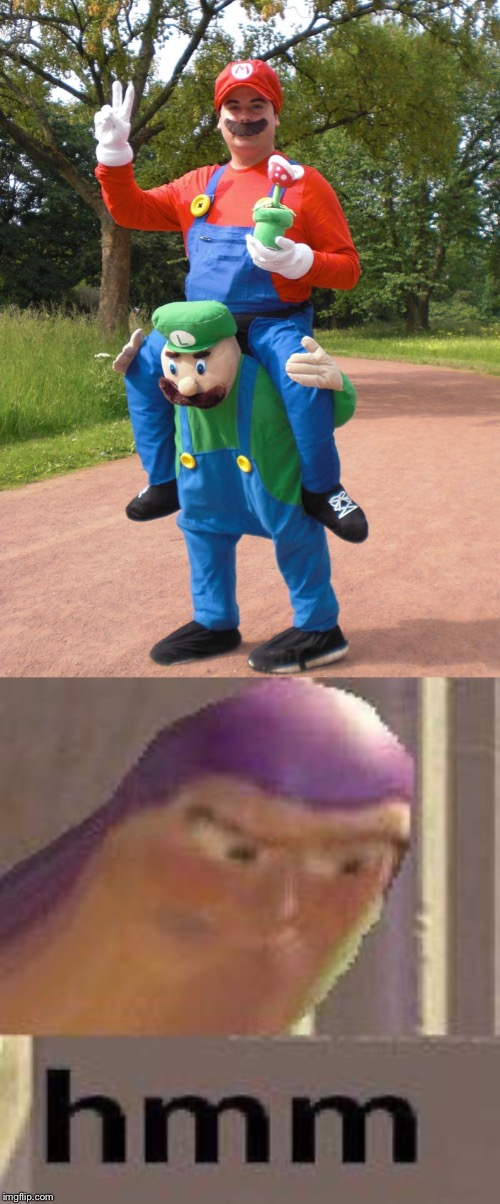 Why | image tagged in buzz lightyear hmm,mario and luigi,super mario,questions,why,costume | made w/ Imgflip meme maker