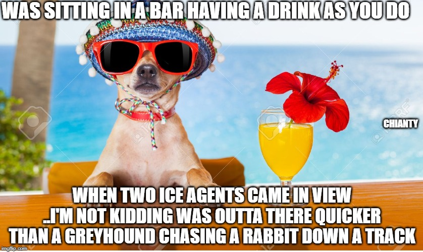 Drink | WAS SITTING IN A BAR HAVING A DRINK AS YOU DO WHEN TWO ICE AGENTS CAME IN VIEW ..I'M NOT KIDDING WAS OUTTA THERE QUICKER THAN A GREYHOUND CH | image tagged in ice | made w/ Imgflip meme maker