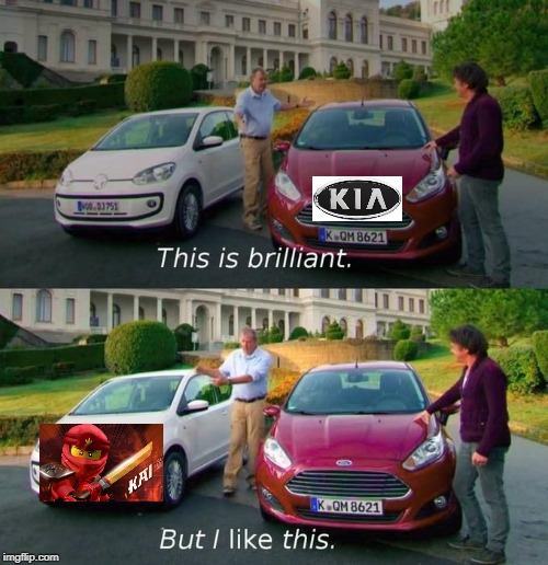 Kai is better than Kia >:) | image tagged in kai,ninjago,kia,lego | made w/ Imgflip meme maker