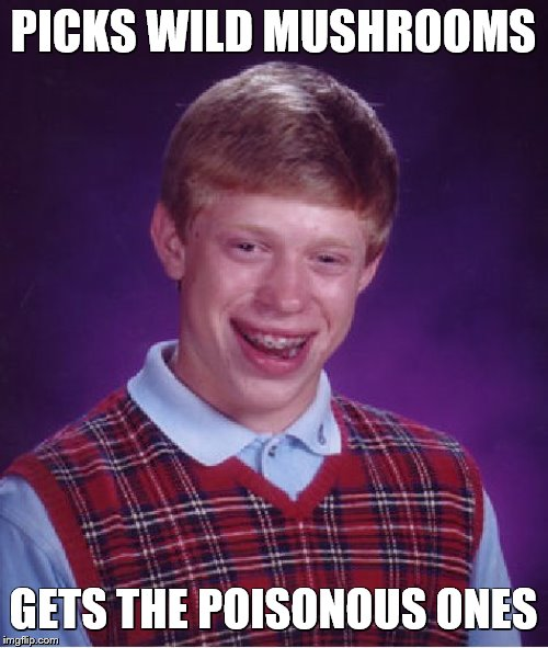 Bad Luck Brian Meme | PICKS WILD MUSHROOMS GETS THE POISONOUS ONES | image tagged in memes,bad luck brian | made w/ Imgflip meme maker