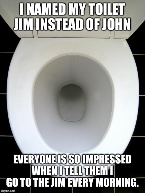 Always stretch first |  I NAMED MY TOILET JIM INSTEAD OF JOHN; EVERYONE IS SO IMPRESSED WHEN I TELL THEM I GO TO THE JIM EVERY MORNING. | image tagged in toilet,workout | made w/ Imgflip meme maker