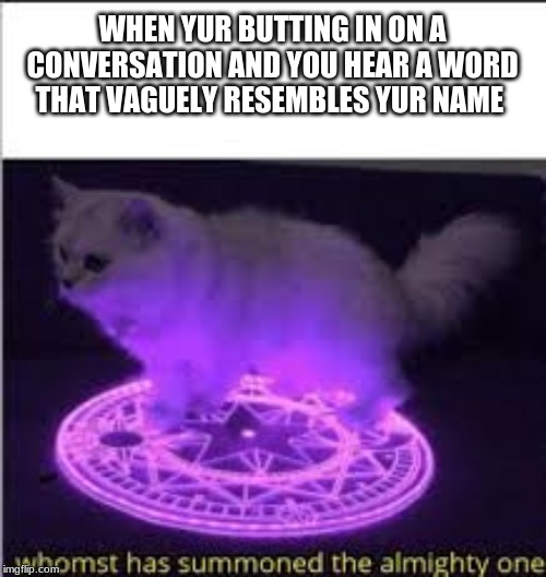 Whomst has Summoned the almighty one | WHEN YUR BUTTING IN ON A CONVERSATION AND YOU HEAR A WORD THAT VAGUELY RESEMBLES YUR NAME | image tagged in whomst has summoned the almighty one | made w/ Imgflip meme maker