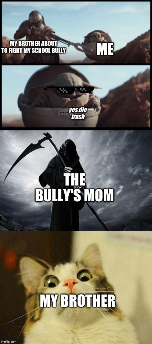 ME; yes.die trash; MY BROTHER ABOUT TO FIGHT MY SCHOOL BULLY; THE BULLY'S MOM; MY BROTHER | image tagged in memes,scared cat,death,baby yoda | made w/ Imgflip meme maker