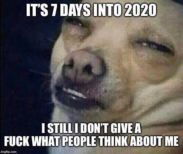 I don't care | IT'S 7 DAYS INTO 2020 I STILL I DON'T GIVE A F**K WHAT PEOPLE THINK ABOUT ME | image tagged in i dont care | made w/ Imgflip meme maker