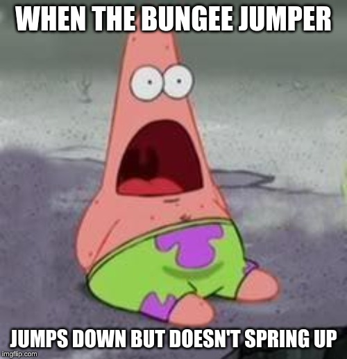 Suprised Patrick | WHEN THE BUNGEE JUMPER JUMPS DOWN BUT DOESN'T SPRING UP | image tagged in suprised patrick | made w/ Imgflip meme maker