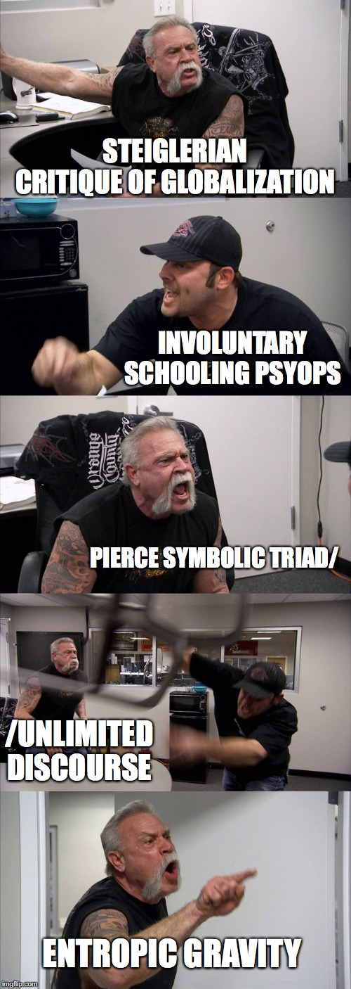 American Chopper Argument Meme |  STEIGLERIAN CRITIQUE OF GLOBALIZATION; INVOLUNTARY SCHOOLING PSYOPS; PIERCE SYMBOLIC TRIAD/; /UNLIMITED DISCOURSE; ENTROPIC GRAVITY | image tagged in memes,american chopper argument | made w/ Imgflip meme maker