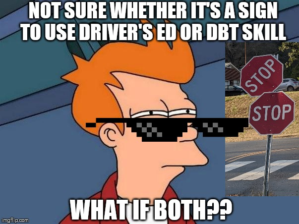 Not sure if- fry |  NOT SURE WHETHER IT'S A SIGN TO USE DRIVER'S ED OR DBT SKILL; WHAT IF BOTH?? | image tagged in not sure if- fry | made w/ Imgflip meme maker