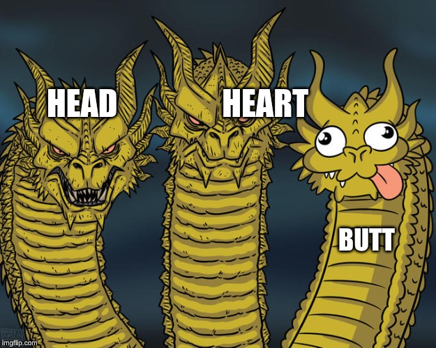 Three-headed Dragon | HEAD                 HEART BUTT | image tagged in three-headed dragon | made w/ Imgflip meme maker