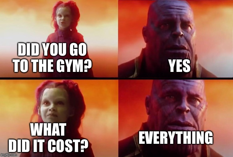 What did it cost? | DID YOU GO TO THE GYM? YES WHAT DID IT COST? EVERYTHING | image tagged in what did it cost | made w/ Imgflip meme maker