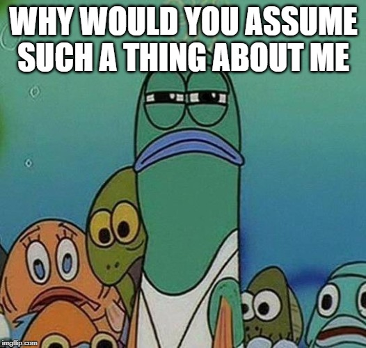SpongeBob | WHY WOULD YOU ASSUME SUCH A THING ABOUT ME | image tagged in spongebob | made w/ Imgflip meme maker